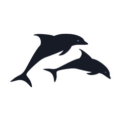 flat icon on theme Save whales a pair of dolphins