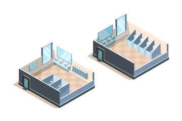 Public toilet. Isometric washroom for male and female people modern sink vector illustrations. Toilet public, bathroom and restroom interior wc