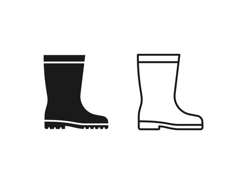 Rubber boot icon. Vector. Gumboots in simple flat design, outline, isolated on white background. Waterproof shoe for rainy weather, gardening, fishing. Illustration for web, logo app UI. Autumn symbol