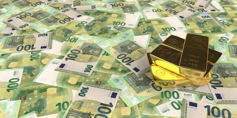 Fototapete - 100 Euro Banknotes Fine Gold Bars 1000g
