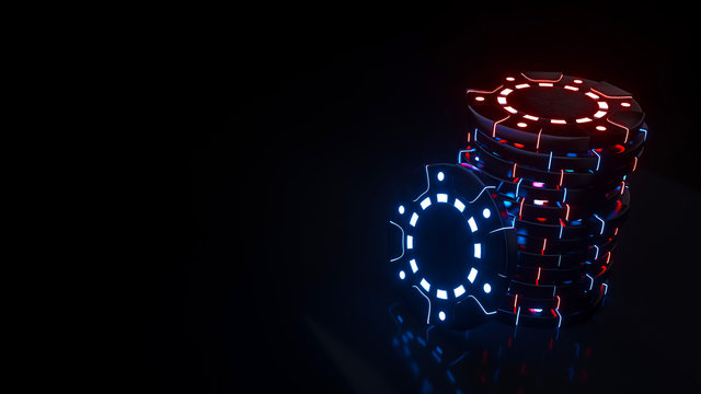 Modern Casino Chips With Futuristic Blue And Red Neon Lights Isolated On The Black Background - 3D Illustration