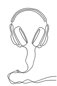 Single line drawing isolated on a white background. Headphones with a wire for listening to music.