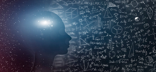 Silhouette of human with universe and physical, mathematical formulas