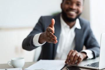 African American entrepreneur extending hand to shake Fototapete