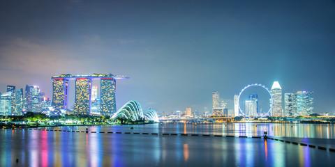 Panorama of Singapore city skyline by night
