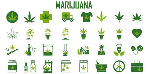 marijuana, cannabis, leaf, weed, medical, drug  flat icons. mono vector symbol Fototapete