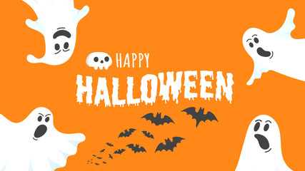 Happy Halloween text postcard banner with ghosts scary face, human scull and text happy halloween isolated on orange background flat style design.