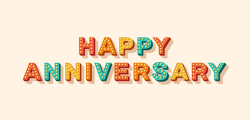 Canvas Prints Positive Typography Happy anniversary vector lettering