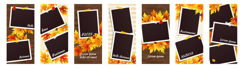 Editable Autumn Social Network Stories Template Set with Photo Frames, Fall Flyers. Vector mock up. Story Thanksgiving Collection. Harvest festival Banners. Fall Party Invitation with falling Leaves Wall mural