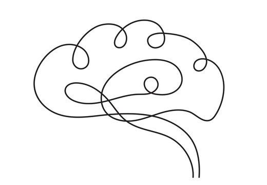 One line brain design silhouette.Logo design. Hand drawn minimalism style