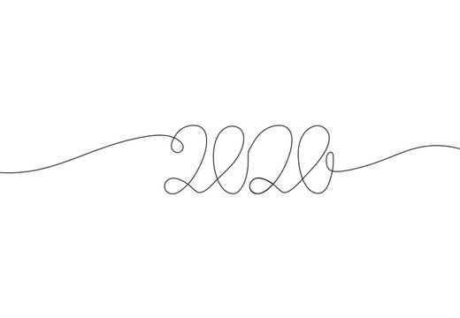 2020 inscription, two thousand and twenty continuous line drawing, calendar design postcard banner, calligraphy year of the rat sign lettering, single line on a white background,