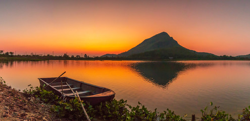 Beautiful view of mountain river and boat in summer,Lam e Zoo Mountains,Thailand