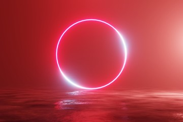 Papiers peints Brique Glowing neon red circle, portal, gate. Fantastic scene. 3d rendering
