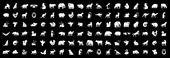 Animals logos collection. Animal logo set. Isolated on Black background