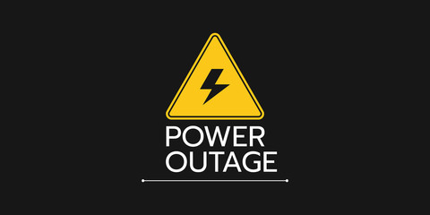 the banner of a power cut with a warning sign the one is on the solid black background.