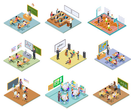 School rooms isometric. Library dining room lecture classroom gym sports hall toilet college university interior furniture 3d vector. Illustration education school room isometric, university interior