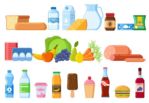 Food products. Bread and water bottles, juice and cheese. Eggs, fruit and sausages ice cream. Product and drinks flat vector icons. Illustration bread and juice, milk and cheese, water and sausage