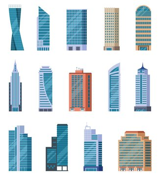 Flat skyscrapers. Exterior of modern city buildings. Residential and business office houses. Downtown facades. Isolated vector set. Illustration building office, urban residential skyscraper