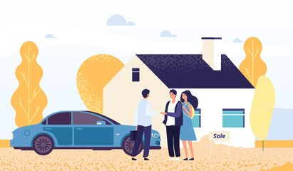 Property concept. Happy young couple buys a house. Vector real estate agent, male and female characters. Woman and man buy house, agent sell home illustration