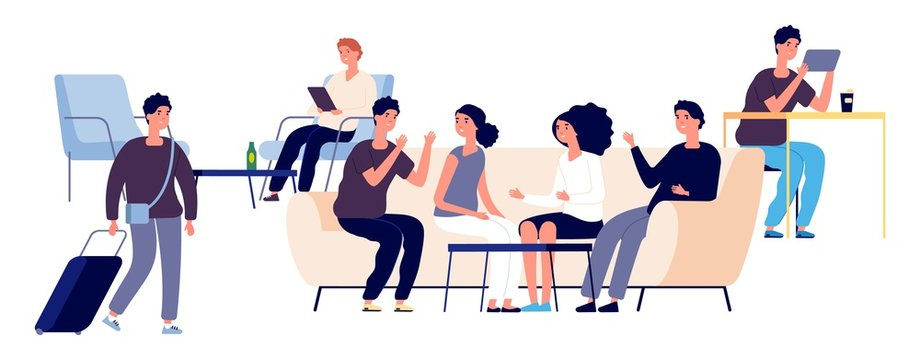 Hostel concept. Vector flat people characters. Hostel lounge illustration with happy men and women. Lounge area or zone for visitors