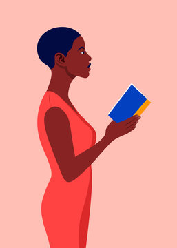 An African woman stands in profile and holds a book in his hands. Girl reading a book. Student in the university library. Vector flat illustration