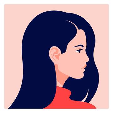 The head of a European girl in profile. Portrait of a brunette woman. Social Media Avatar. Vector Flat Illustration