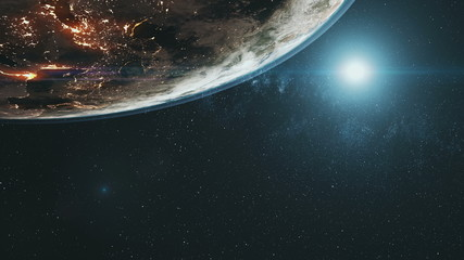 Wall Mural - Illuminated planet Earth continents with white halo in outer space against bright colour Sun. 3d render animation. Science and technology concept. Elements of this media furnished by NASA