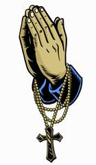 hand with rosary praying cross