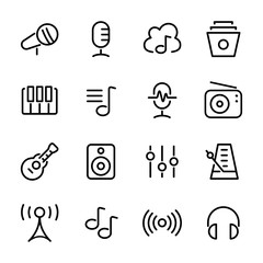 Audio and Music Icons, vector line icon set