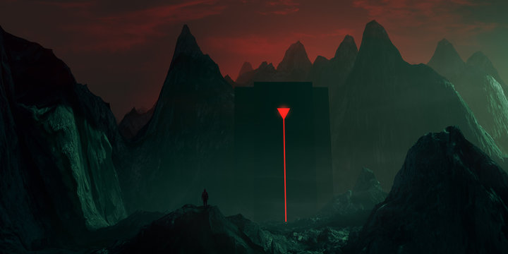 mysterious building in mountains, surreal night landscape fantasy 3d illustration