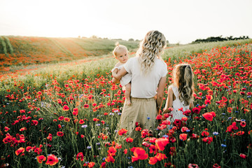 woman with her two daughter look at poppy flowers