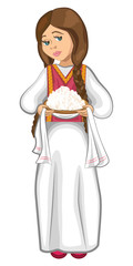 Slavic girl in folk costume with cottage cheese vector