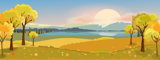 Panorama autumn landscape with yellow trees mountain and lake. Fantasy wonderland landscape in fall season. Vector illustration. Fototapete