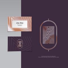 Elegant vintage art deco style branding logo and business card template, W letter line style monogram emblem