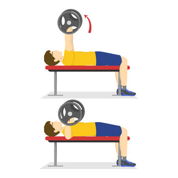Bench press exercise for chest. Man doing workout