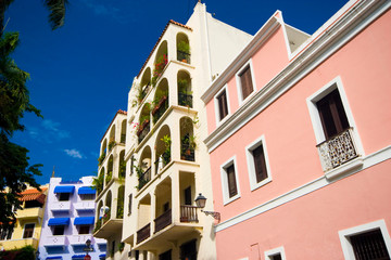 SAN JUAN DE PUERTO RICO,  29 of January 2009. Some facades and balconies in San Juan de Puerto Rico. Wall mural