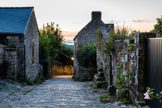 Old street in the medieval village of Locronan