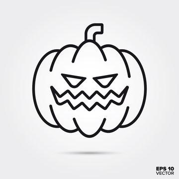 Halloween Jack O Lantern pumpkin line icon vector illustration