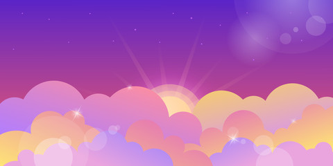 Blue and violet sunset sky and rose clouds. Cartoon vector illustration background
