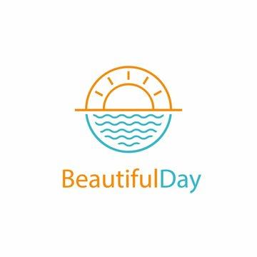 Beautiful Day logo design, sun water icon sunrise circular vector design in ocean scenic
