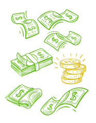 Raining money seamless vector pattern.
