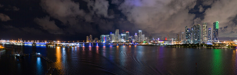 Wall Mural - Best night aerial panorama Downtown Miami Florida