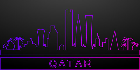 Qatar detailed skyline nolan icon. Elements of cities set. Simple icon for websites, web design, mobile app, info graphics