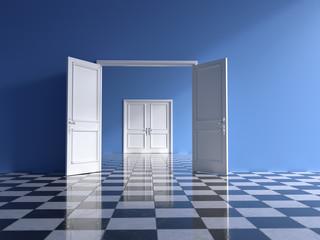 empty blue interior with open double door and chess floor,