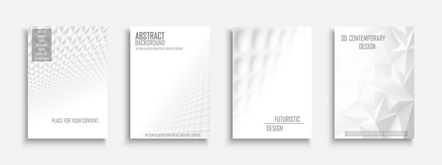 Collection of vector abstract contemporary templates, covers, placards, brochures, banners, flyers, backgrounds. White futuristic creative 3d design