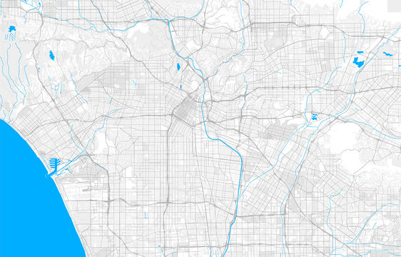 Rich detailed vector map of Los Angeles, California, U.S.A.