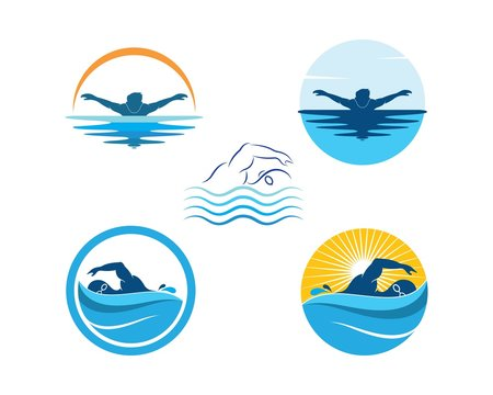 swimming icon logo vector illustration design