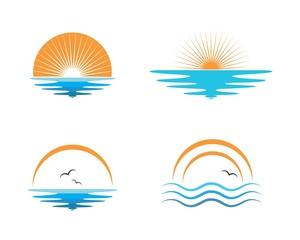 wave sun logo icon vector illustration design