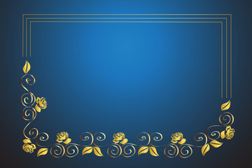 Gold roses frame card template