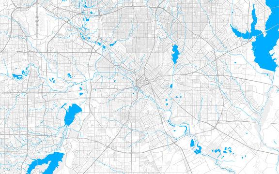 Rich detailed vector map of Dallas, Texas, U.S.A.